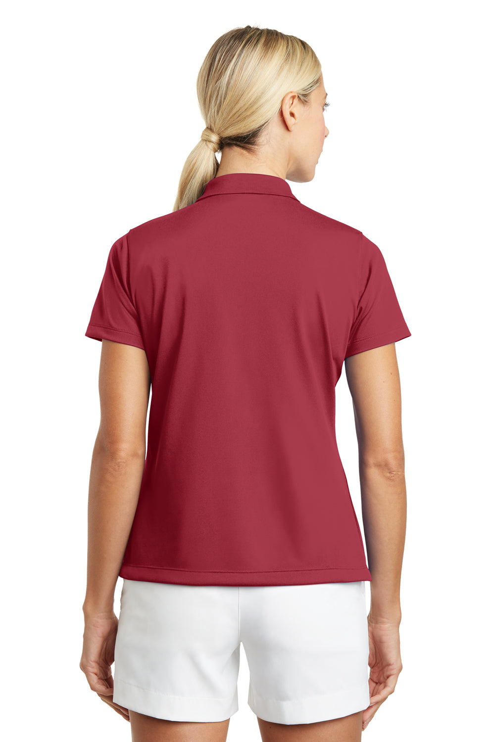 Nike 203697 Womens Tech Basic Dri-Fit Moisture Wicking Short Sleeve Polo Shirt Pro Red Back