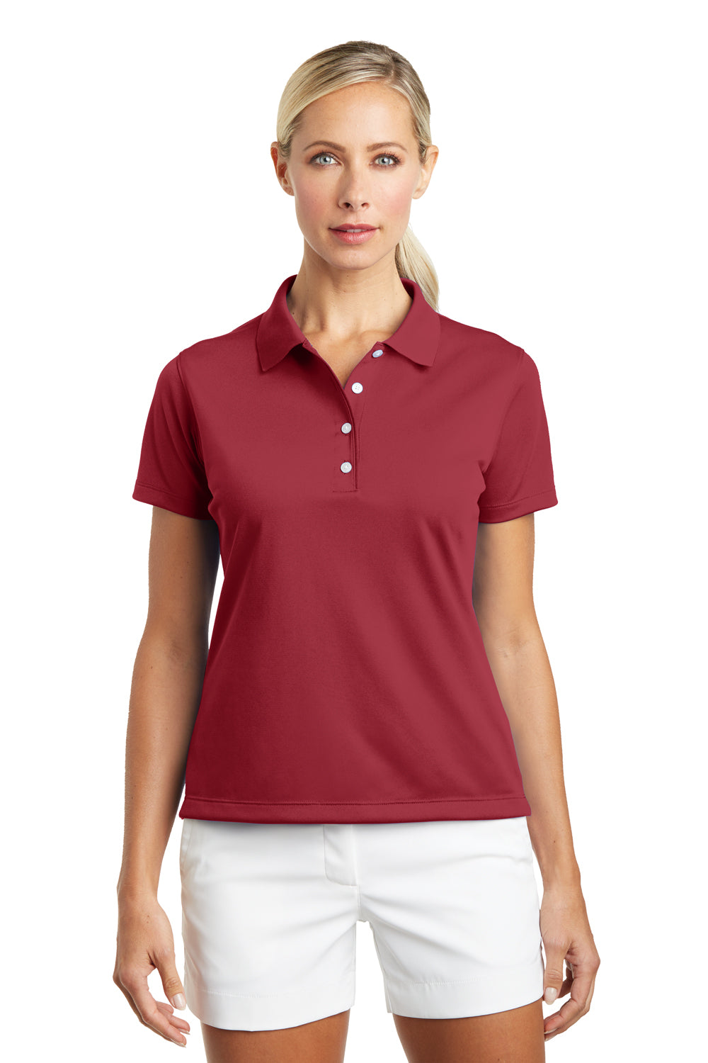Nike 203697 Womens Tech Basic Dri-Fit Moisture Wicking Short Sleeve Polo Shirt Pro Red Front