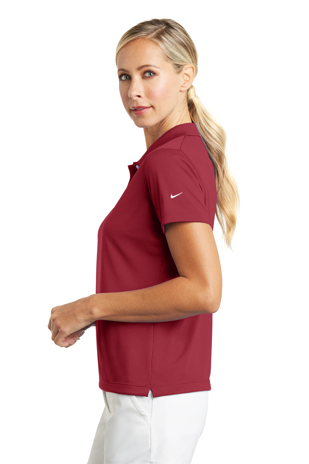 Nike 203697 Womens Tech Basic Dri-Fit Moisture Wicking Short Sleeve Polo Shirt Pro Red Side