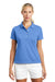 Nike 203697 Womens Tech Basic Dri-Fit Moisture Wicking Short Sleeve Polo Shirt University Blue Front
