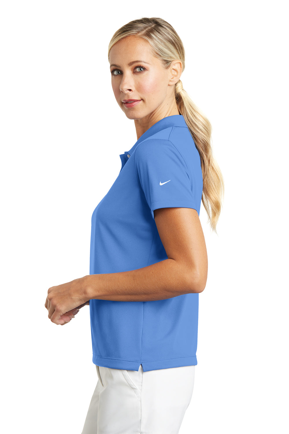 Nike 203697 Womens Tech Basic Dri-Fit Moisture Wicking Short Sleeve Polo Shirt University Blue Side