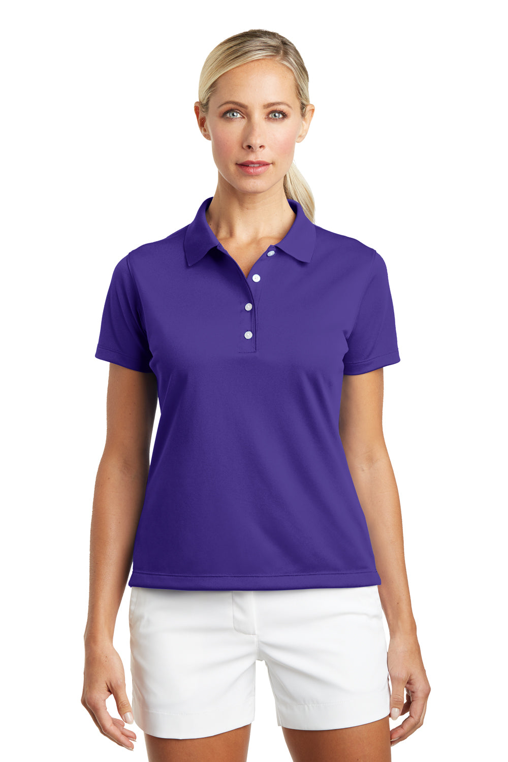 Nike 203697 Womens Tech Basic Dri-Fit Moisture Wicking Short Sleeve Polo Shirt Purple Front