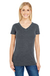 Threadfast Apparel 208B Womens Vintage Dye Short Sleeve V-Neck T-Shirt Charcoal Grey Front