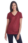 Threadfast Apparel 240RV Womens Liquid Jersey Short Sleeve V-Neck T-Shirt Cardinal Red Front