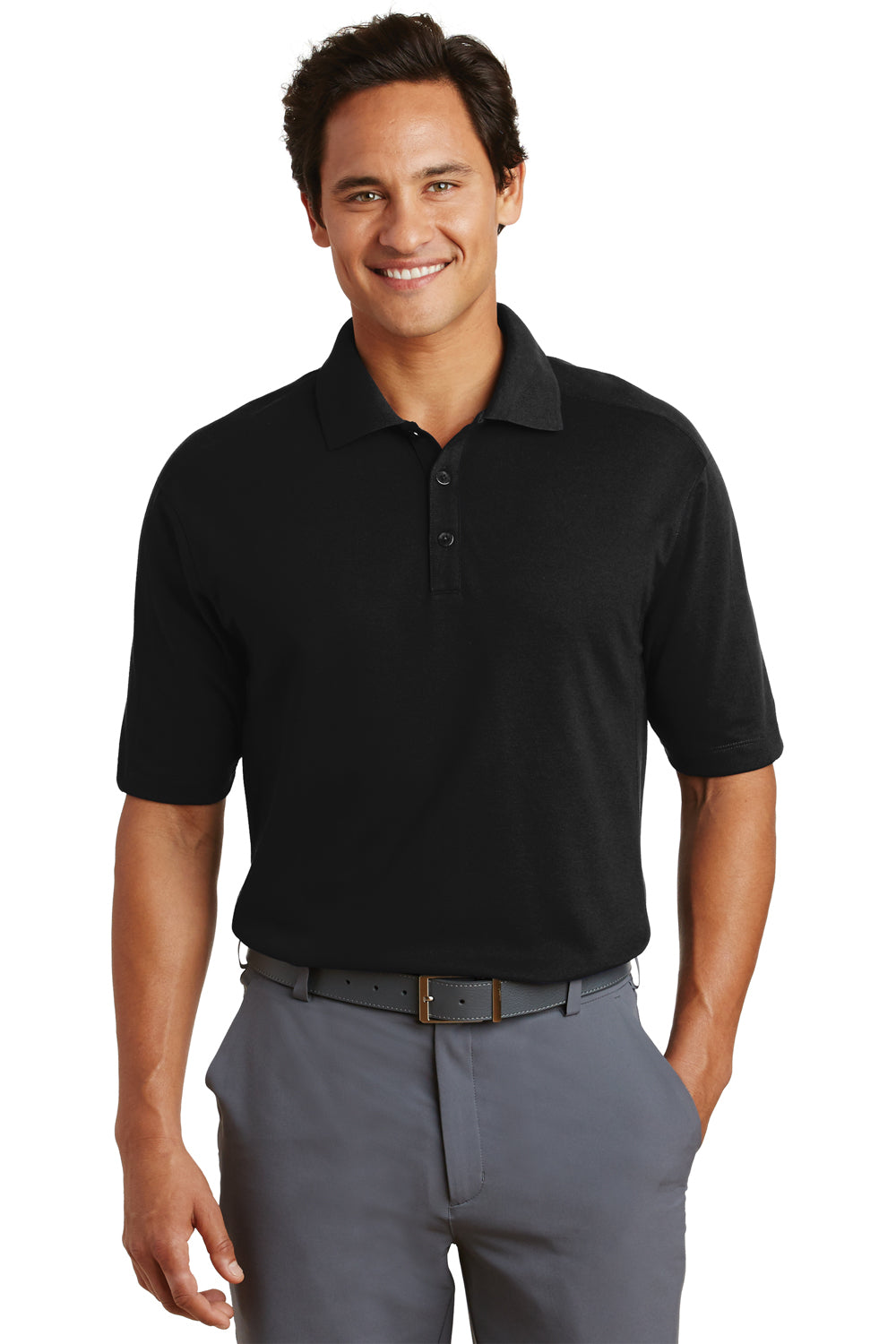 Nike 244612 Mens Dri-Fit Moisture Wicking Short Sleeve Polo Shirt Black Front