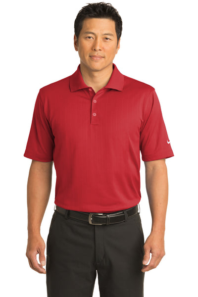 Nike 244620 Mens Dri-Fit Moisture Wicking Short Sleeve Polo Shirt Red Front