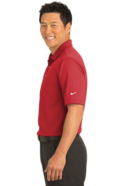 Nike 244620 Mens Dri-Fit Moisture Wicking Short Sleeve Polo Shirt Red Side
