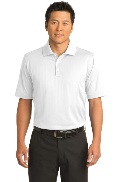 Nike 244620 Mens Dri-Fit Moisture Wicking Short Sleeve Polo Shirt White Front