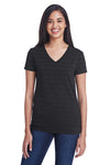 Threadfast Apparel 252RV Womens Short Sleeve V-Neck T-Shirt Black Front