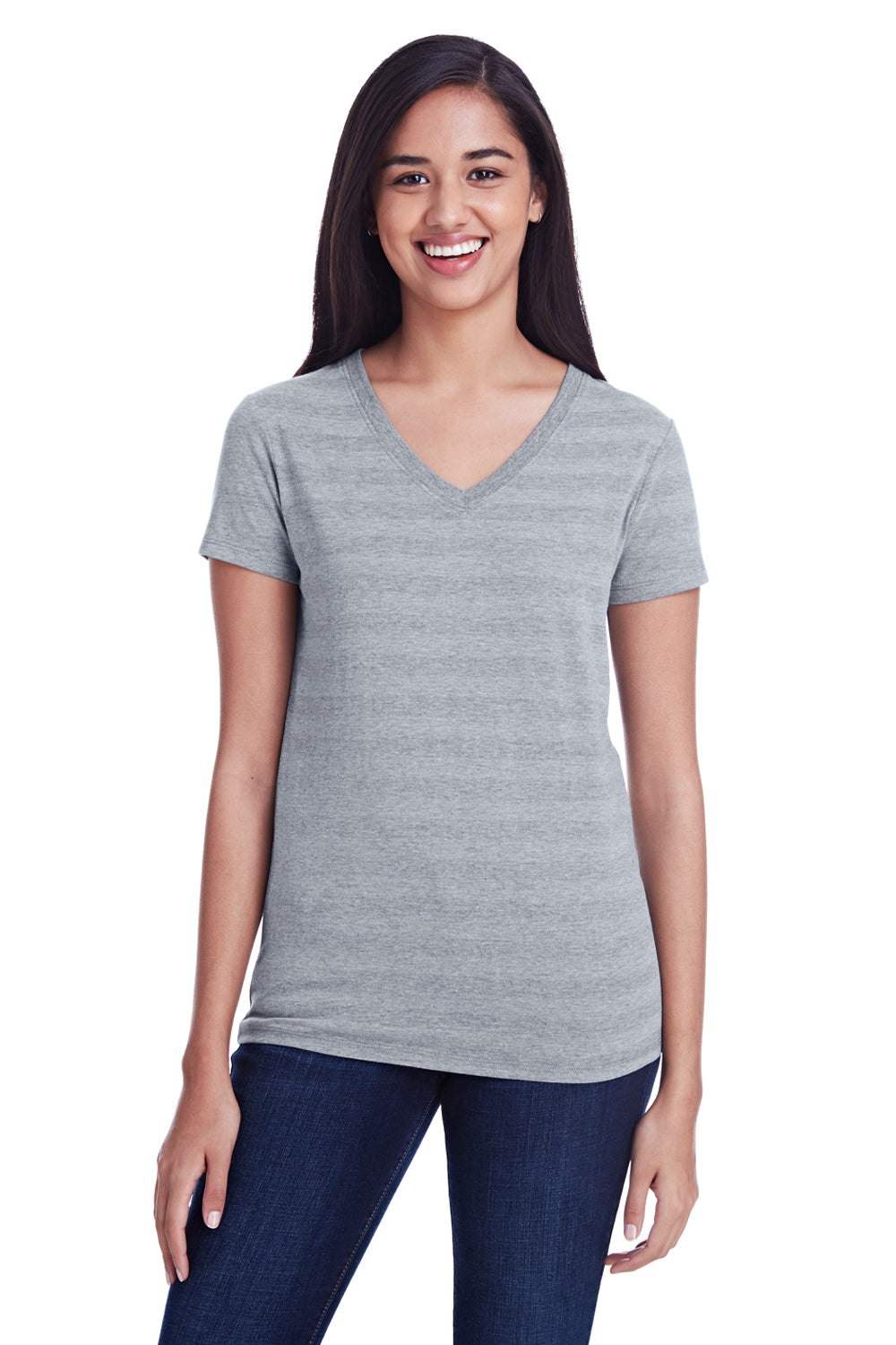 Threadfast Apparel 252RV Womens Short Sleeve V-Neck T-Shirt Heather Grey Front