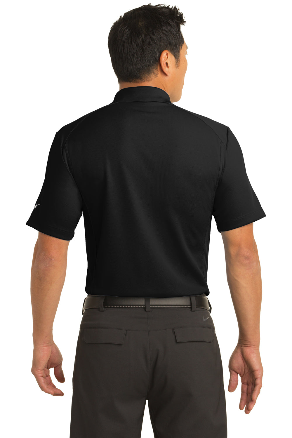 Nike 267020 Mens Classic Dri-Fit Moisture Wicking Short Sleeve Polo Shirt Black Back