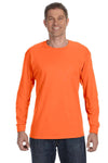 Jerzees 29L Mens Dri-Power Moisture Wicking Long Sleeve Crewneck T-Shirt Safety Orange Front
