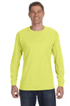 Jerzees 29L Mens Dri-Power Moisture Wicking Long Sleeve Crewneck T-Shirt Safety Green Front