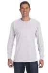 Jerzees 29L Mens Dri-Power Moisture Wicking Long Sleeve Crewneck T-Shirt Ash Grey Front