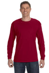 Jerzees 29L Mens Dri-Power Moisture Wicking Long Sleeve Crewneck T-Shirt Cardinal Red Front
