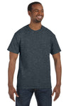 Jerzees 29M Mens Dri-Power Moisture Wicking Short Sleeve Crewneck T-Shirt Heather Black Front