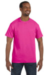 Jerzees 29M Mens Dri-Power Moisture Wicking Short Sleeve Crewneck T-Shirt Cyber Pink Front