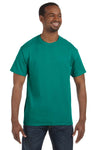 Jerzees 29M Mens Dri-Power Moisture Wicking Short Sleeve Crewneck T-Shirt Jade Green Front