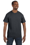 Jerzees 29M Mens Dri-Power Moisture Wicking Short Sleeve Crewneck T-Shirt Charcoal Grey Front