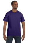 Jerzees 29M Mens Dri-Power Moisture Wicking Short Sleeve Crewneck T-Shirt Purple Front