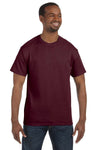 Jerzees 29M Mens Dri-Power Moisture Wicking Short Sleeve Crewneck T-Shirt Maroon Front