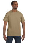 Jerzees 29M Mens Dri-Power Moisture Wicking Short Sleeve Crewneck T-Shirt Khaki Brown Front