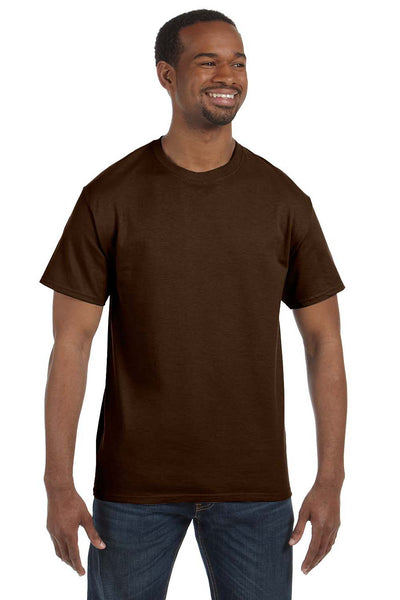 Jerzees 29M Mens Dri-Power Moisture Wicking Short Sleeve Crewneck T-Shirt Chocolate Brown Front