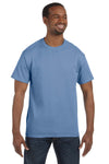 Jerzees 29M Mens Dri-Power Moisture Wicking Short Sleeve Crewneck T-Shirt Light Blue Front