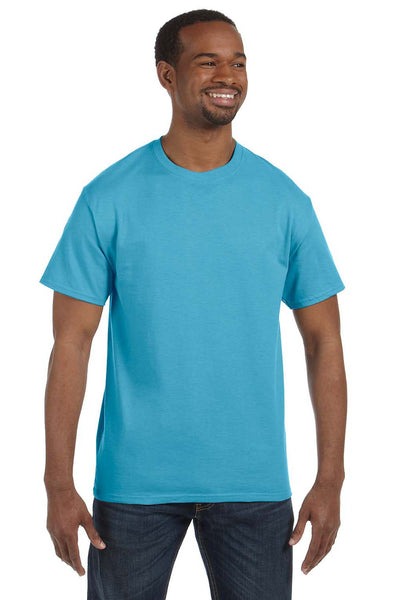 Jerzees 29M Mens Dri-Power Moisture Wicking Short Sleeve Crewneck T-Shirt Aquatic Blue Front
