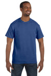 Jerzees 29M Mens Dri-Power Moisture Wicking Short Sleeve Crewneck T-Shirt Heather Blue Front