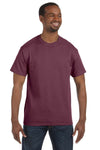 Jerzees 29M Mens Dri-Power Moisture Wicking Short Sleeve Crewneck T-Shirt Heather Maroon Front