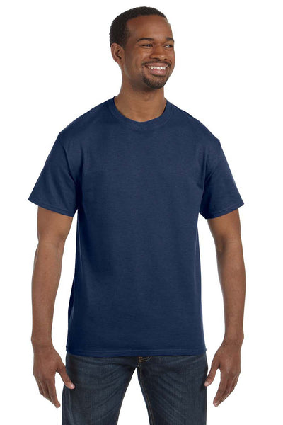 Jerzees 29M Mens Dri-Power Moisture Wicking Short Sleeve Crewneck T-Shirt Heather Navy Blue Front