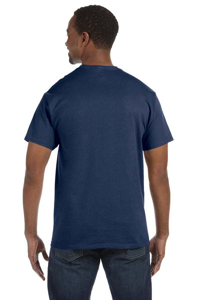 Jerzees 29M Mens Dri-Power Moisture Wicking Short Sleeve Crewneck T-Shirt Heather Navy Blue Back