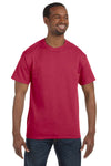 Jerzees 29M Mens Dri-Power Moisture Wicking Short Sleeve Crewneck T-Shirt Heather Red Front