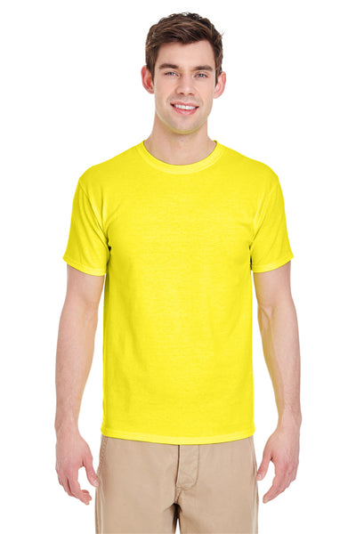 Jerzees 29M Mens Dri-Power Moisture Wicking Short Sleeve Crewneck T-Shirt Neon Yellow Front
