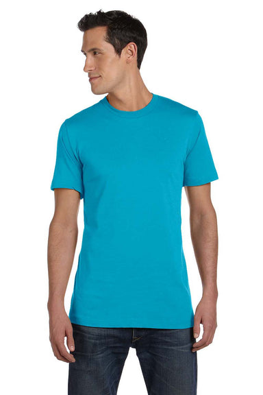 Bella + Canvas 3001C Mens Jersey Short Sleeve Crewneck T-Shirt Turquoise Blue Front