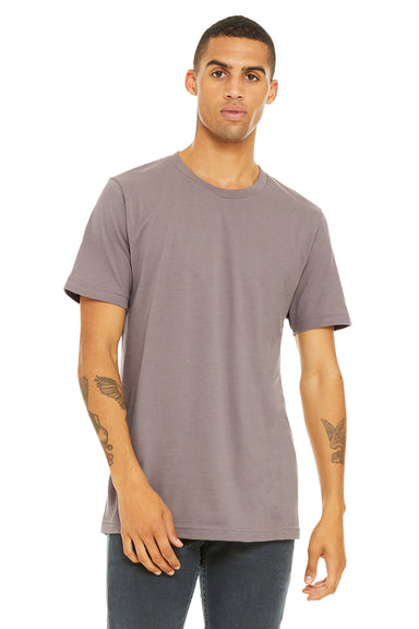 Bella + Canvas 3001C Mens Jersey Short Sleeve Crewneck T-Shirt Pebble Brown Front