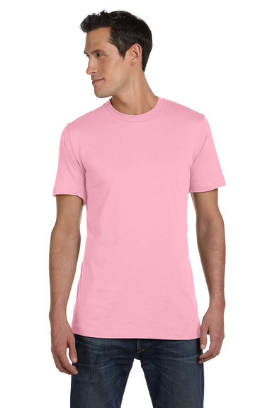 Bella + Canvas 3001C Mens Jersey Short Sleeve Crewneck T-Shirt Pink Front