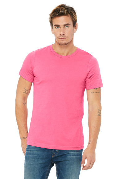 Bella + Canvas 3001C Mens Jersey Short Sleeve Crewneck T-Shirt Charity Pink Front