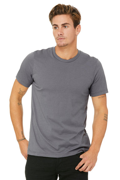 Bella + Canvas 3001C Mens Jersey Short Sleeve Crewneck T-Shirt Storm Grey Front
