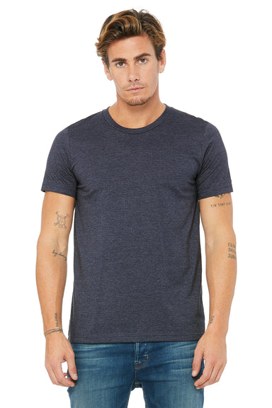 Bella + Canvas 3001C Mens Jersey Short Sleeve Crewneck T-Shirt Heather Navy Blue Front