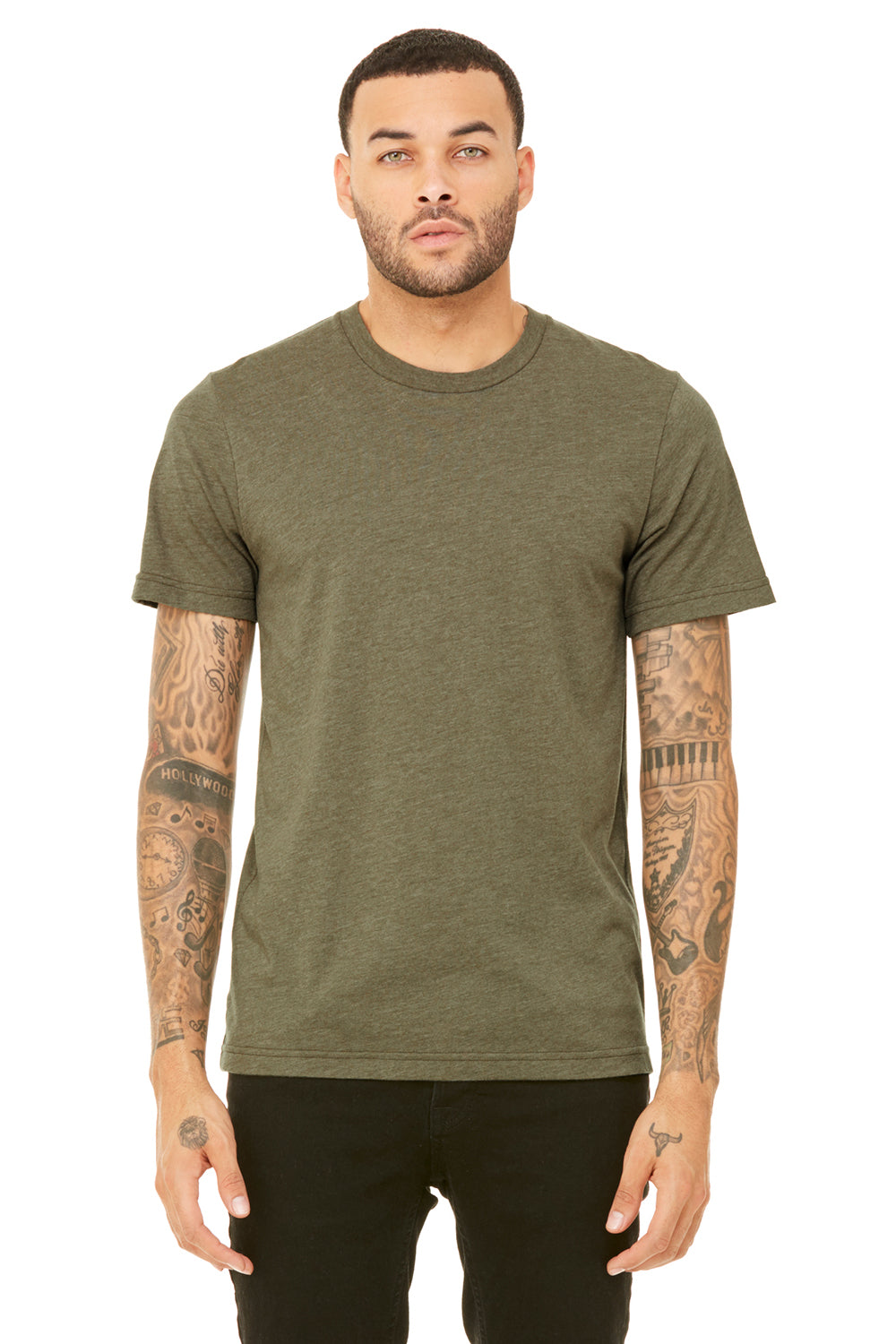 Bella + Canvas 3001C Mens Jersey Short Sleeve Crewneck T-Shirt Heather Olive Green Front
