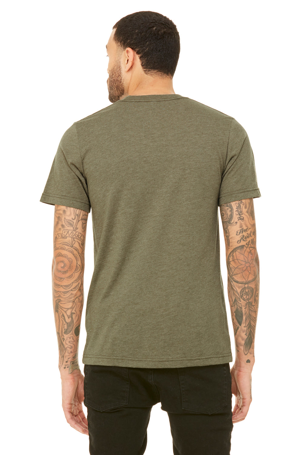 Bella + Canvas 3001C Mens Jersey Short Sleeve Crewneck T-Shirt Heather Olive Green Back
