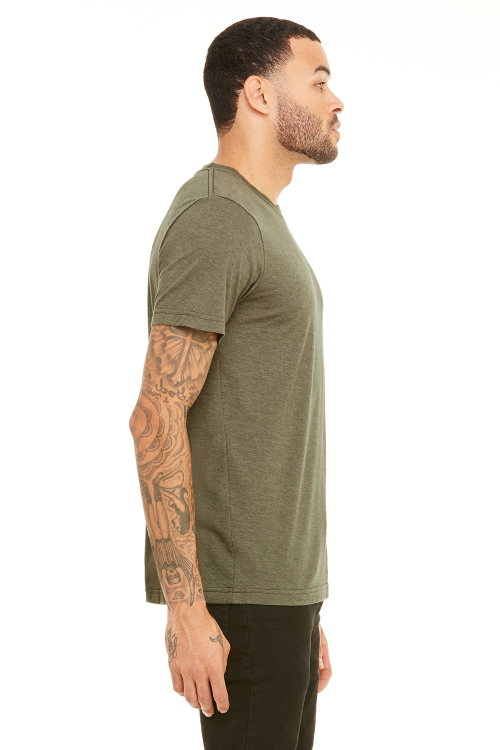 Bella + Canvas 3001C Mens Jersey Short Sleeve Crewneck T-Shirt Heather Olive Green Side