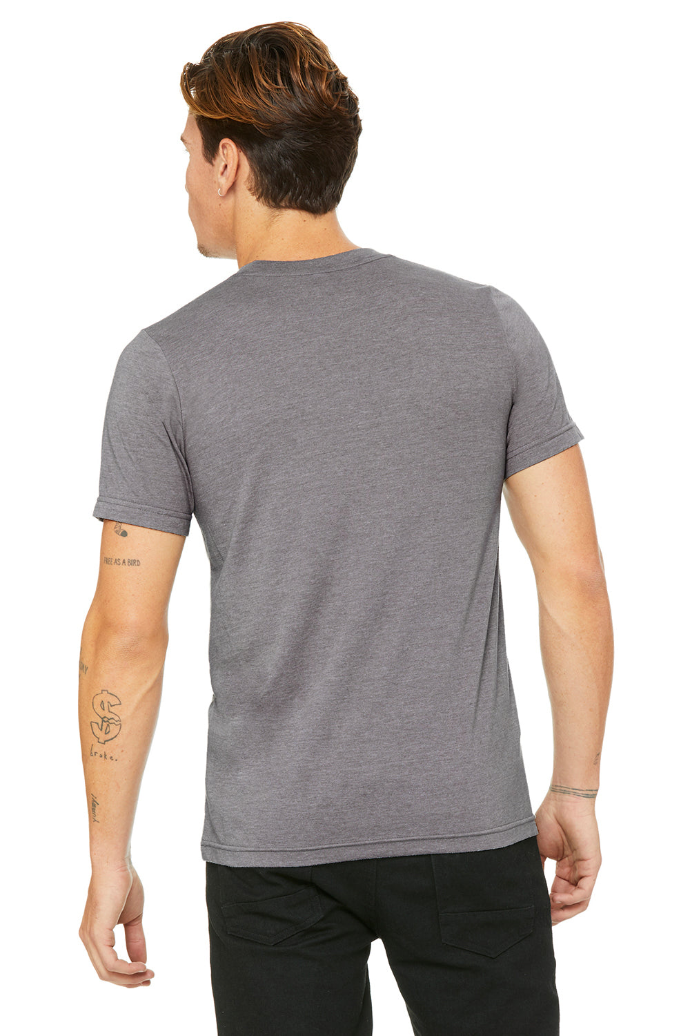 Bella + Canvas 3001C Mens Jersey Short Sleeve Crewneck T-Shirt Heather Storm Grey Back