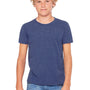 Bella + Canvas Youth Jersey Short Sleeve Crewneck T-Shirt - Heather Navy Blue