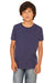 Bella + Canvas 3001Y Youth Jersey Short Sleeve Crewneck T-Shirt Navy Blue Front