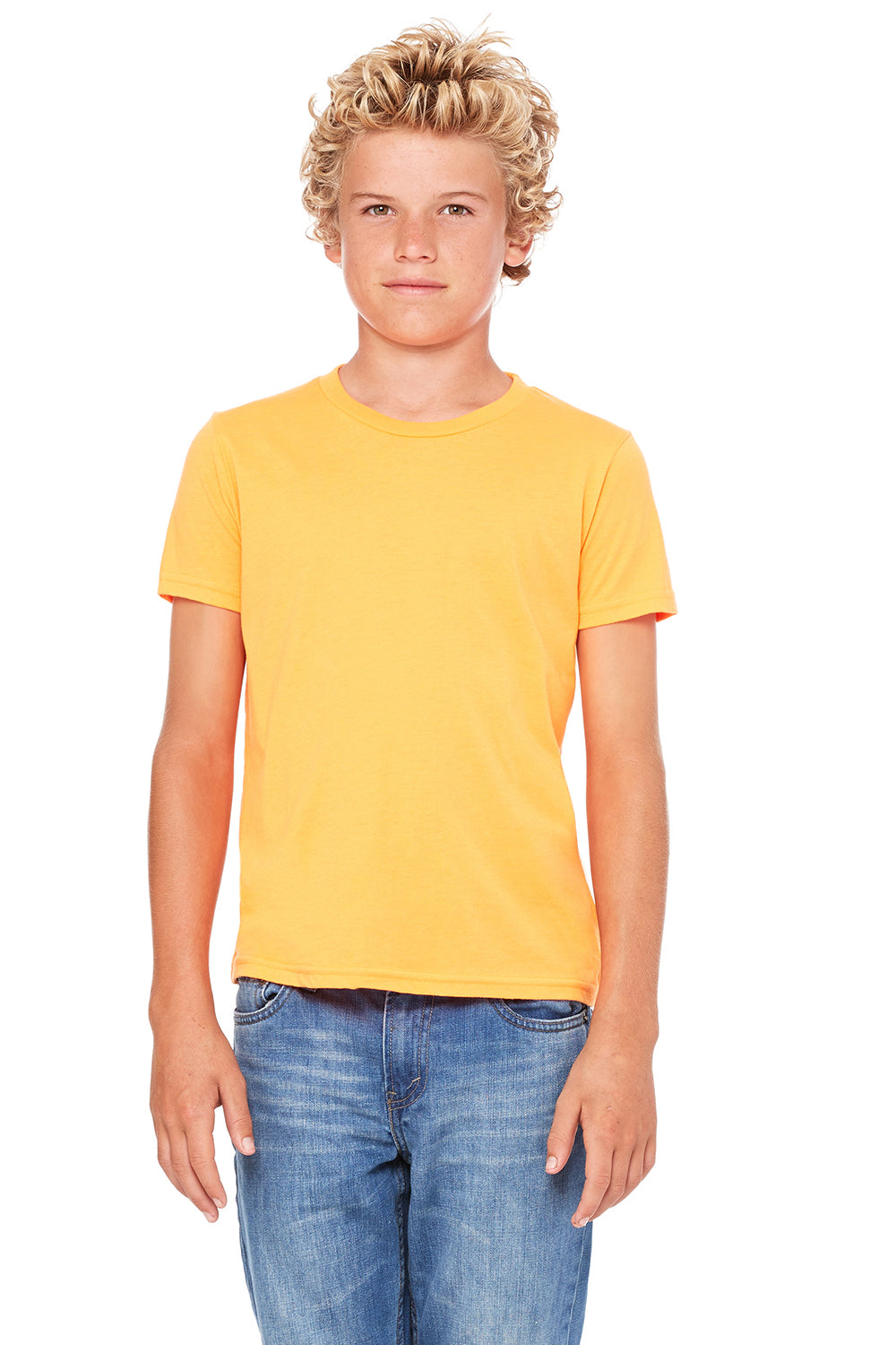 Bella + Canvas 3001Y Youth Jersey Short Sleeve Crewneck T-Shirt Neon Orange Front