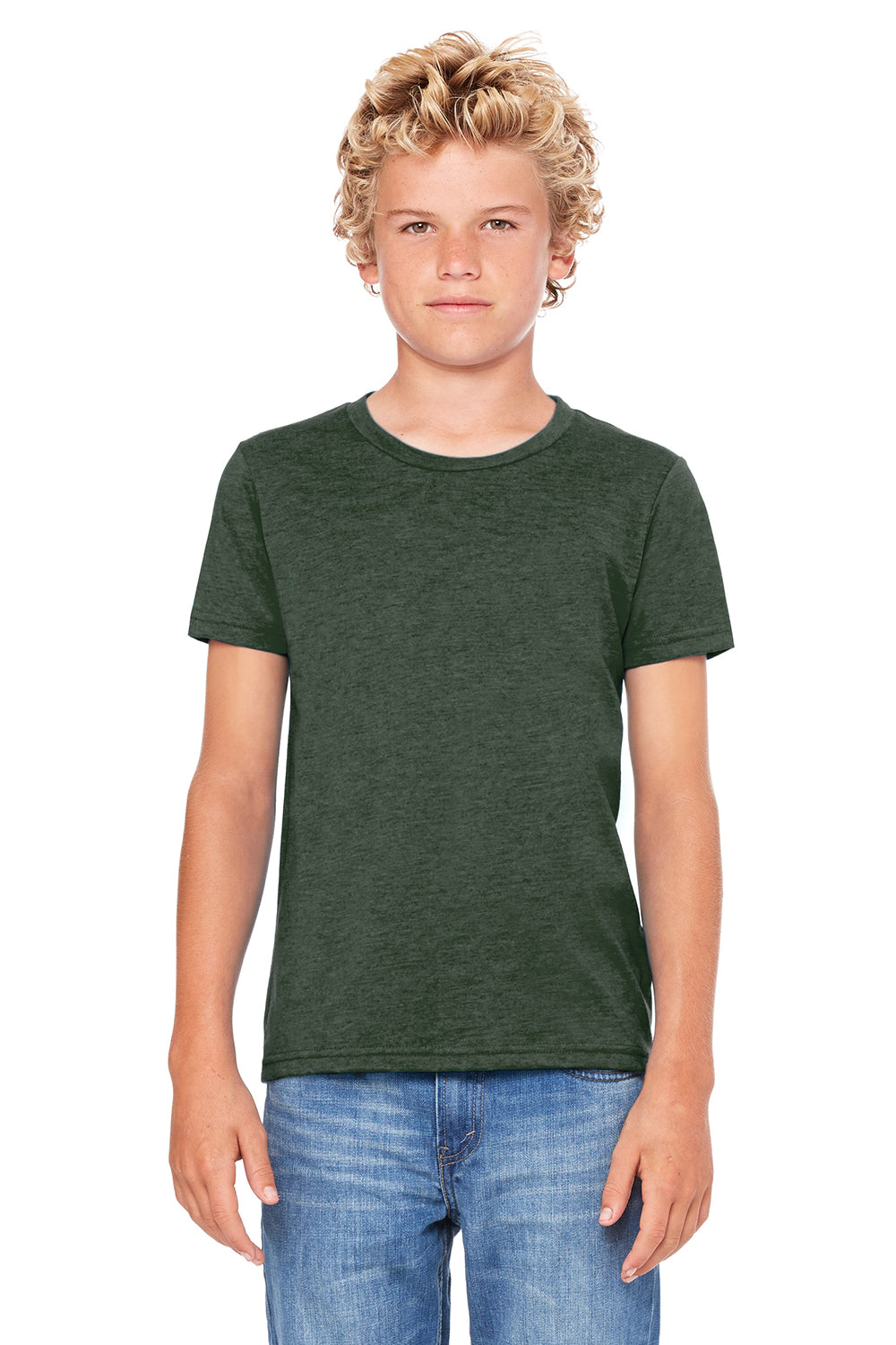 Bella + Canvas 3001Y Youth Jersey Short Sleeve Crewneck T-Shirt Heather Forest Green Front