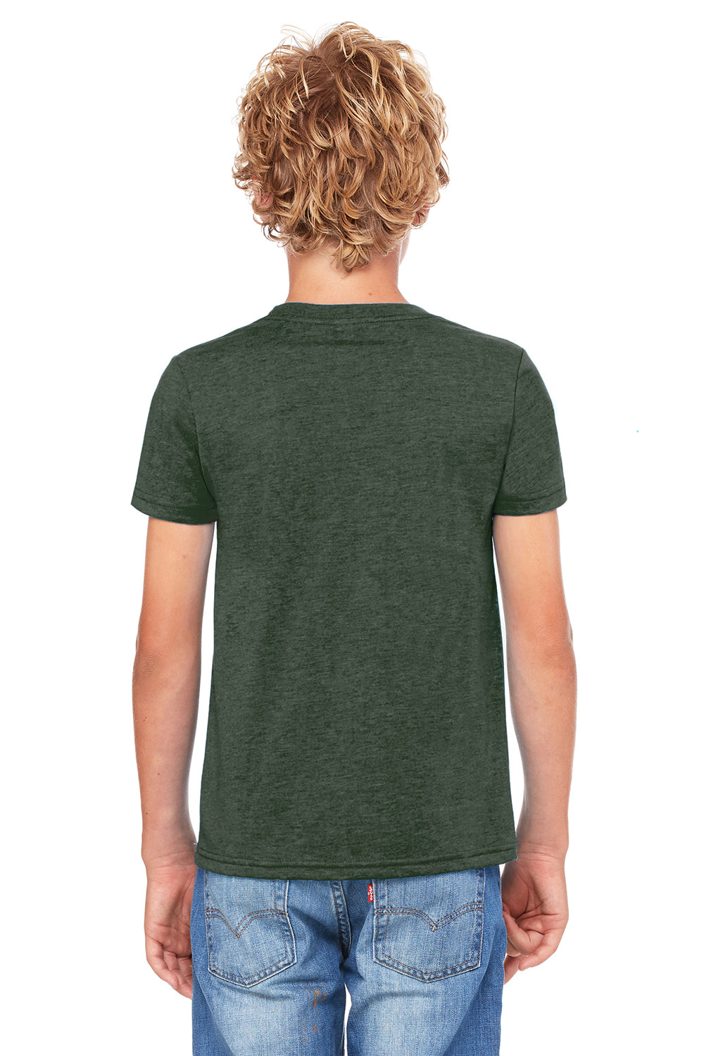 Bella + Canvas 3001Y Youth Jersey Short Sleeve Crewneck T-Shirt Heather Forest Green Back